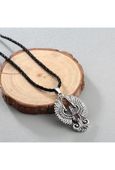VipBT CHEN07 Siyah Halat Zincir Antik Kaplama Erkek Kolye Antik Gümüş Gri