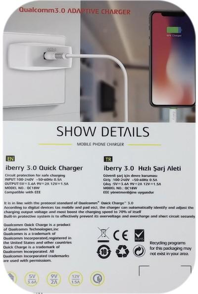 iBerry 18W Şarj Adaptörü + Micro USB Data ve Şarj Kablosu