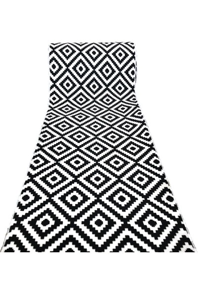 Aksu Piramit Desen Siyah Beyaz Jel Kaymaz Taban Kesme Yolluk Halı En 80-Cm