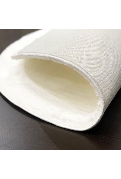 Sarar 80 x 80-Cm Yuvarlak Düz Renk Peluş Pofuduk Kaymaz Jel Taban Beyaz Renk Halı