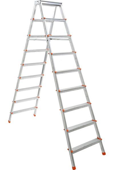Elbe 9+9 Çift Çıkışlı Alüminyum Merdiven