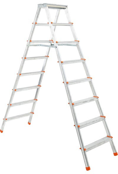 Elbe 8+8 Çift Çıkışlı Alüminyum Merdiven