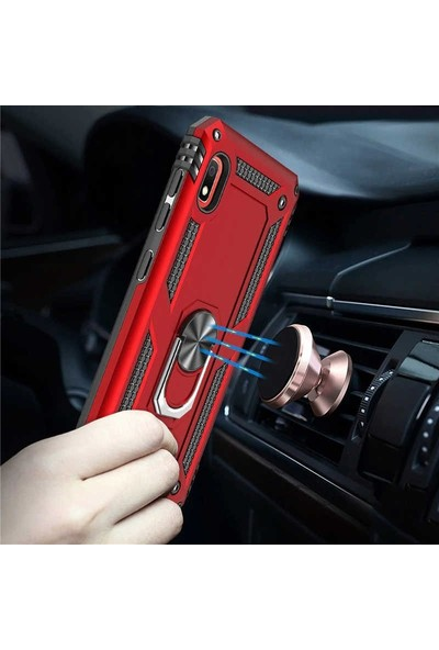 Gpack Xiaomi Redmi 7A Kılıf Vega Standlı Yüzüklü Mıknatıslı Rose
