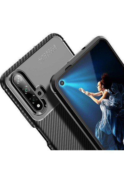 Gpack Huawei Honor 20 Kılıf Negro Karbon Dizayn Silikon Kahverengi
