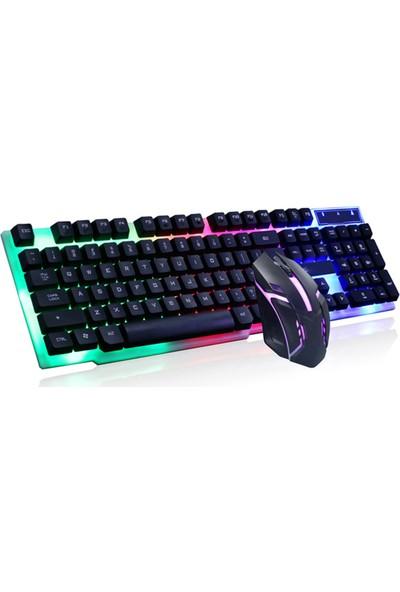 Işıklı Klavye Oyuncu Klavyesi Seti Gaming Gamer LED Rgb Aydınlatmalı USB Mouse Seti