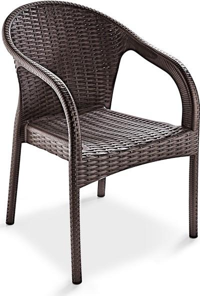 Holiday Ege Rattan Camlı Bahçe Balkon Masa Takımı 6 Sandalyeli - Kahverengi