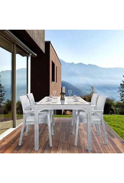 Holiday Markiz Rattan Camlı Bahçe Balkon Masa Takımı 6 Sandalyeli - Beyaz