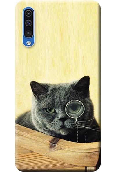 Kılıf Merkezi Samsung Galaxy A30s - A50 Kılıf Baskılı Silikon Kedi Resim STK:470