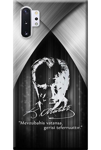 Kılıf Merkezi Samsung Galaxy Note 10 Plus Kılıf SM-N975F Baskılı Silikon Atatürk Tasarım STK:401
