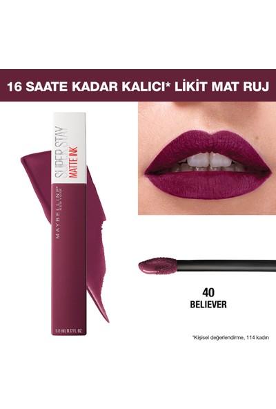 Maybelline New York Super Stay Matte Ink Likit Mat Ruj - 40 Believer - Mürdüm