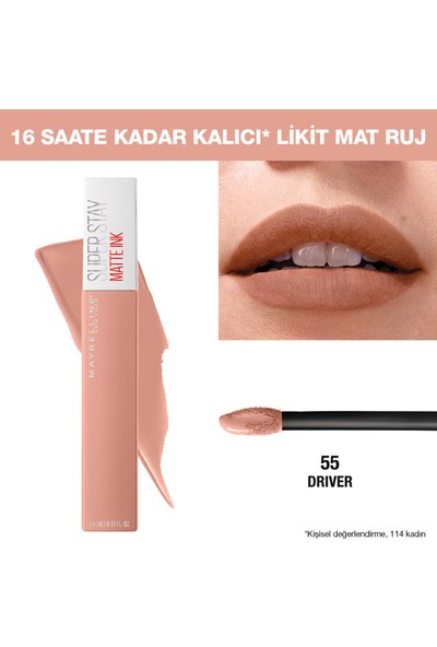 Maybelline New York Super Stay Matte Ink Likit Mat Ruj - 55 Driver - Nude