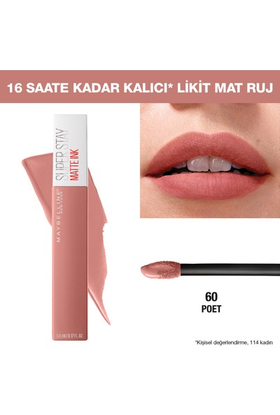 Maybelline New York Super Stay Matte Ink Likit Mat Ruj - 60 Poet - Nude