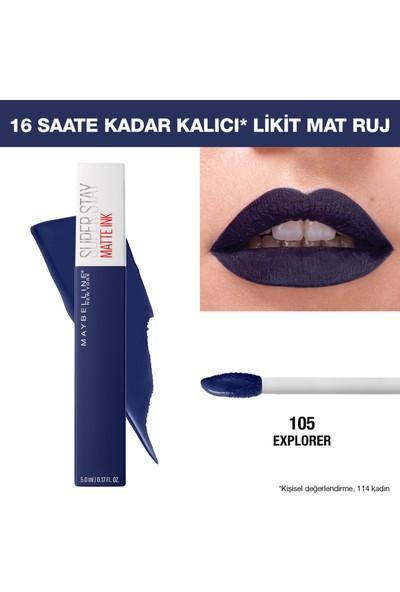 Maybelline New York Super Stay Matte Ink Likit Mat Ruj - 105 Explorer - Lacivert