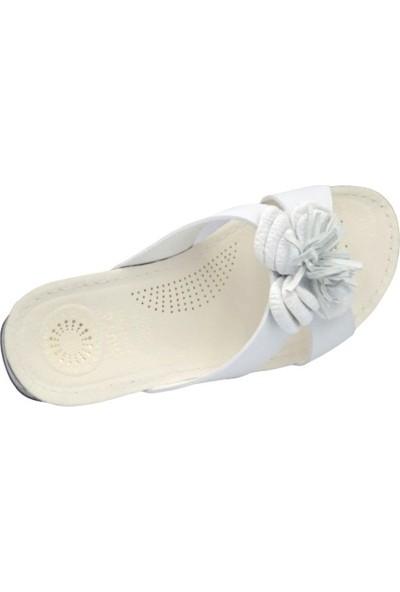 Muya 30209 Beyaz Kadın Çiçekli Magnetik Terlik
