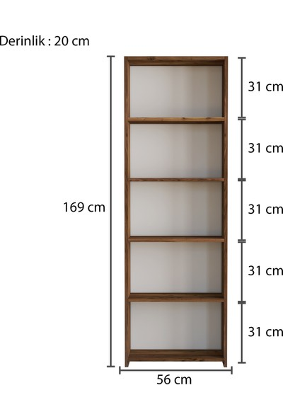 Rani M1 Kitaplık 5 Raflı Çalışma Odası Kütüphane Modern Duvar Rafı Ceviz M6