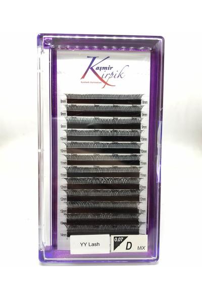 Kaşmir Y Kirpik 0.07 mm D Kıvrım Mix Boy, Otomatik Demet Oluşturan 3 Boyutlu Kirpik