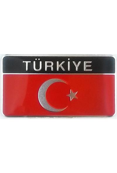 Otografik Ay Yıldız Dikdörtgen Metalize Türkiye Arma