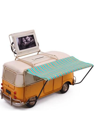 MNK Dekoratif Metal Minibüs Çerçeveli, Kumbara ve Tenteli
