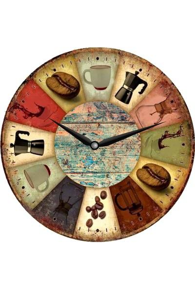Hediye Kapında Ahşap Dekoratif Duvar Saati 30 x 30 cm