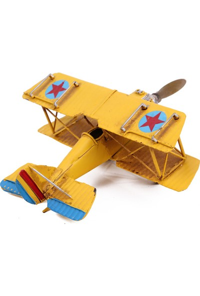 MNK Dekoratif Metal Uçak Çift Kanatlı