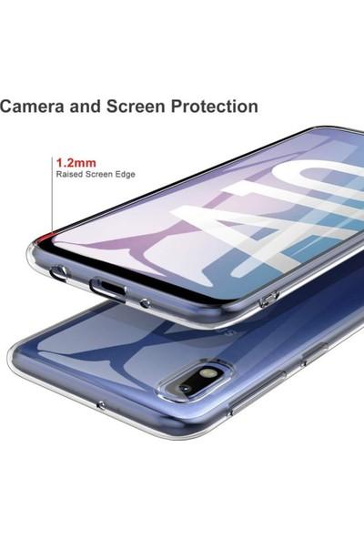 Logis Samsung Galaxy A10 Toz Korumalı Tıpalı Şeffaf Silikon Kılıf