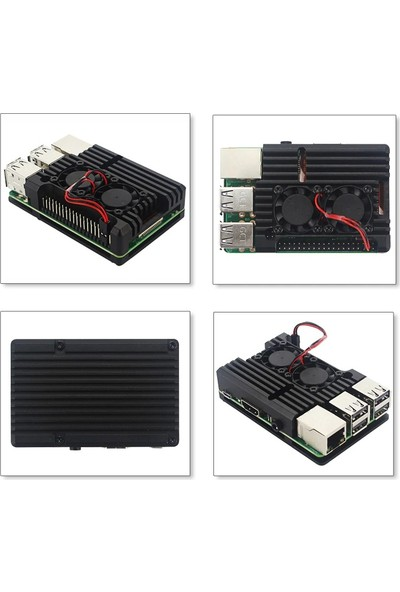 Bakay Raspberry Pi 4b Çift Fanlısiyah Metal Alüminyum Kutu ALUP4+XL2FAN