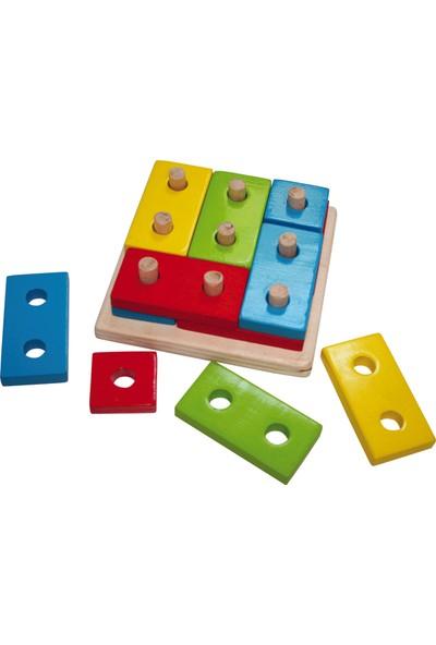 Kalpe Ahşep Eğitici Oyuncak Blok Puzzle Sök-Tak Çocuk Kutu Oyun