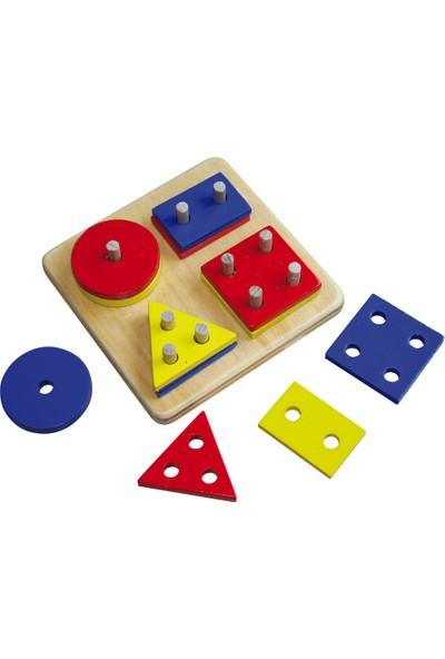 Kalpe Ahşep Eğitici Oyuncak Geometrik Şekiller Çocuk Kutu Oyun Sök-Tak