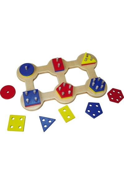 Kalpe Ahşep Eğitici Oyuncak Altılı Geometrik Çocuk Kutu Oyun Sök-Tak