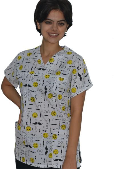 Palmiye Üniforma Emoji Desen Veteriner Hemşire Sağlık Çalışanı Forma