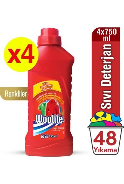 Woolite Canlı Renkler Sıvı Çamaşır Deterjanı 750 ml X 4'lü