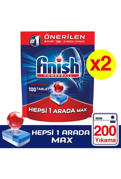 Finish Hepsi Bir Arada 200 Tablet Bulaşık Makinesi Deterjanı (100X2)