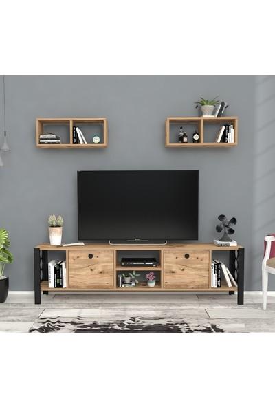 Wood'n Love Rüzgar Metal Ayaklı Tv Ünitesi Atlantik Çam Siyah 160 cm