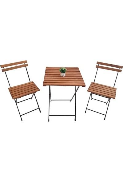 Asmiro Mobilya Bahçe Balko Masa Sandalye Takımı Katlanır Masa Sandalye Ceviz