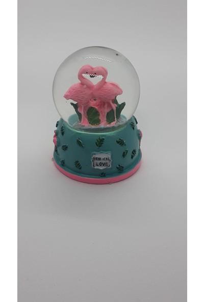 Gıft Dekoratif Flamingo Tasarımlı Mini Boy Kar Küresi