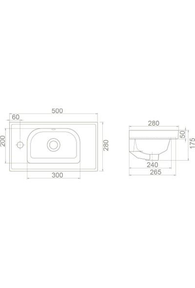 Turkuaz Frame Etajerli Lavabo Soldan Batarya Delikli 50 x 28 cm