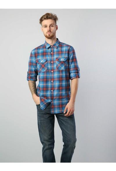 Colins Regular Fit Placket Neck Erkek Mavi Uzun Kol Gömlek