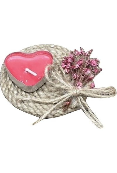 Dünya Hediye Hasır Kalp Mum ve Çiçek Süslemeli 10 Adet