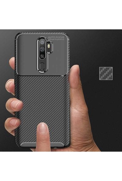 Kuzpa Oppo A9 2020 Kılıf Karbon Desenli Negro Silikon + Nano Cam Koruyucu Kahverengi