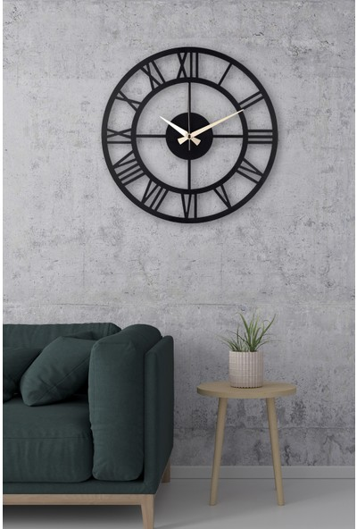 Muyika Roma Siyah Metal Siyah Duvar Saati 41 x 41 cm