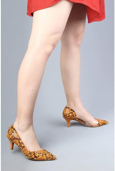Modabuymus Yılan Desenli Kremit Kısa Topuklu Şeffaf Stiletto Kadın Ayakkabı - Jotus