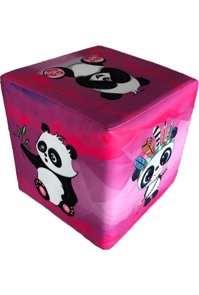 Pufia Mobilya Pembe Panda Desenli Kübik Puf