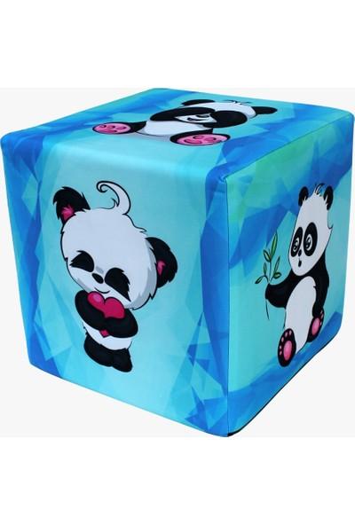 Pufia Mobilya Mavi Panda Desenli Kübik Puf