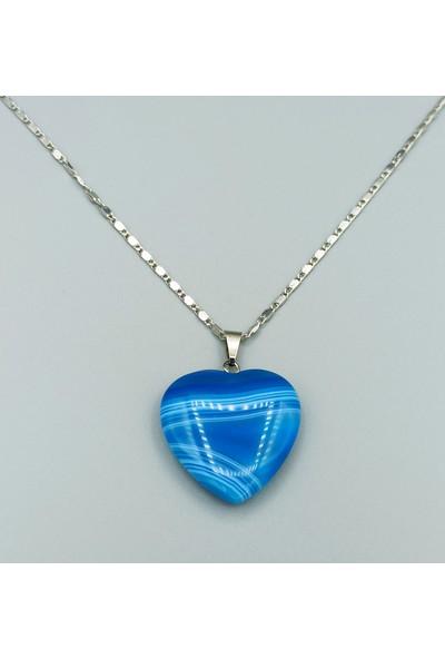 Sahi Aksesuar Kalp Modeli Mavi Akik Taşı Doğal Taş Kolye