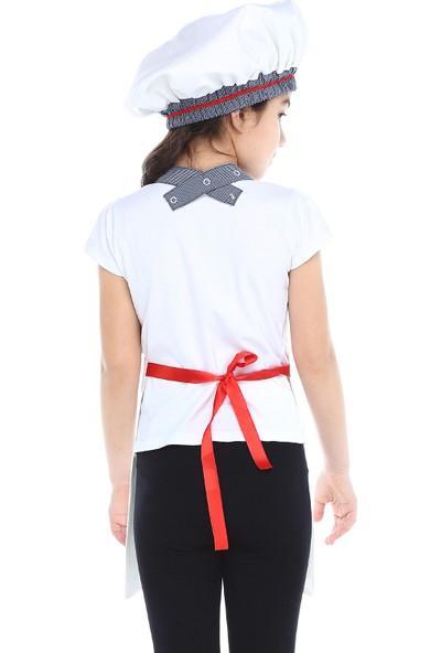 Tülü Akkoç Kız Çocuk Aşçı Önlük-Şapka