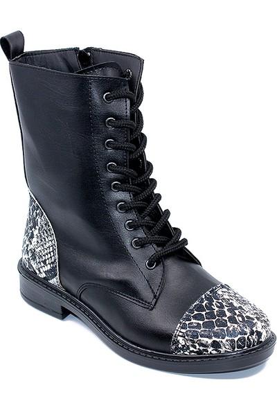 Ayakcity 074 Bayan Siyah Yılan Desen Bot Ayakkabı - 37