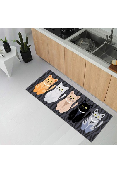 Decovilla Renkli Mutfak Halısı Kaymaz Yıkanabılır Modern Kıtchen Halı 60 x 150 cm