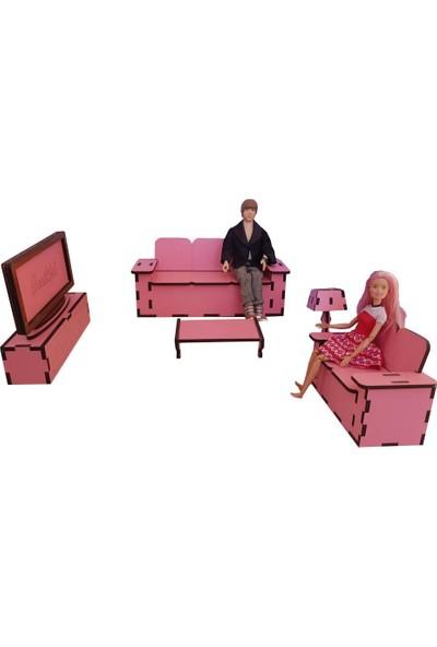 Woody Life Barbie Uyumlu Oyun Evi Salon Takımı