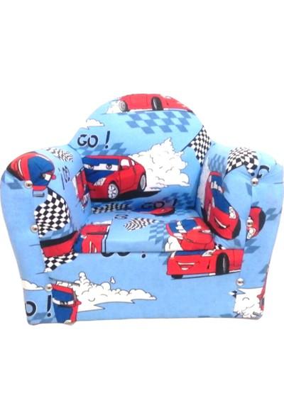 Sedef Çocuk Koltuğu Sandalye Mobilya Mavi Tekli Koltuk