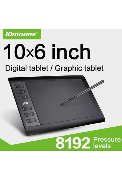 10moons G10 10x6 inç 8192 Seviye 5080LPI Grafik Tablet Siyah